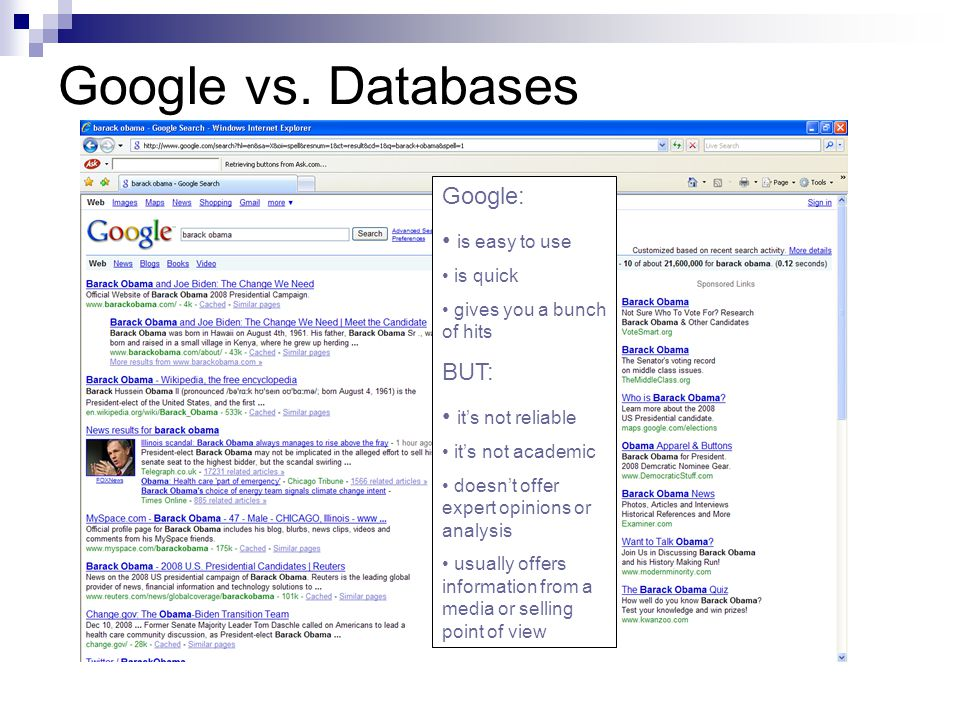 Google vs. Databases Google: is easy to use is quick gives you a bunch of hits BUT: it's not reliable it's not academic doesn't offer expert opinions