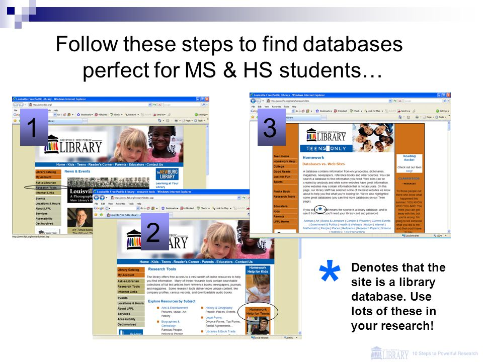 1 2 3 Follow these steps to find databases perfect for MS & HS students… Denotes that the site is a library database.