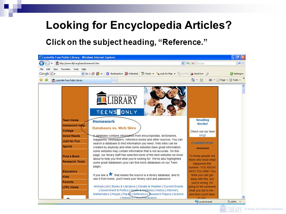 "Looking for Encyclopedia Articles? Click on the subject heading, ""Reference."""