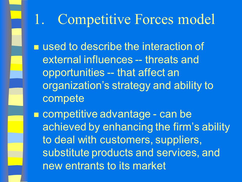 1.Competitive Forces model n used to describe the interaction of external influences -- threats and opportunities -- that affect an organization's strategy and ability to compete n competitive advantage - can be achieved by enhancing the firm's ability to deal with customers, suppliers, substitute products and services, and new entrants to its market