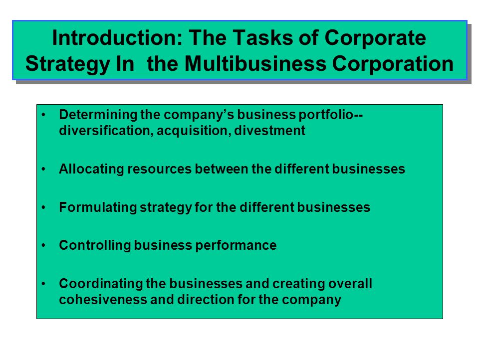 Introduction: The Tasks of Corporate Strategy In the Multibusiness Corporation Determining the company's business portfolio-- diversification, acquisi
