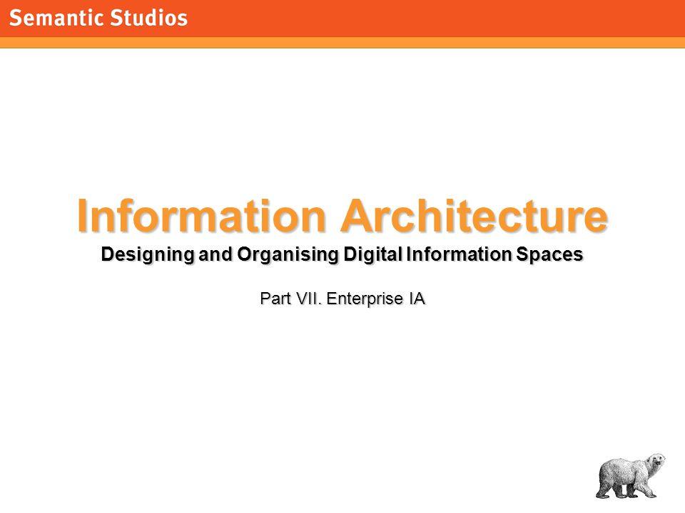 morville@semanticstudios.com 1 Information Architecture Designing and Organising Digital Information Spaces Part VII.