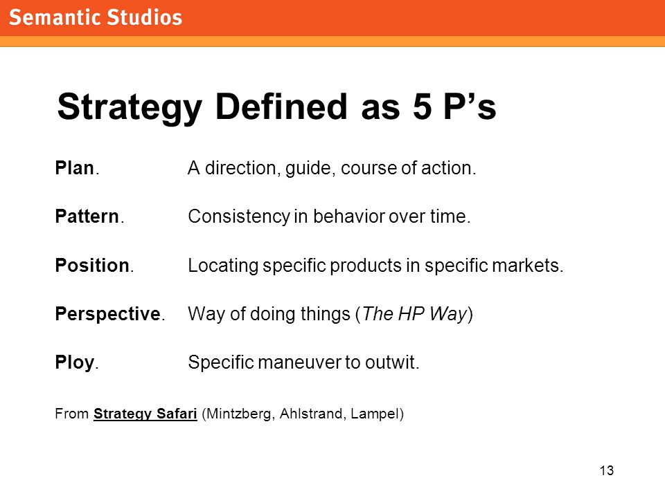 morville@semanticstudios.com 13 Strategy Defined as 5 P's Plan. A direction, guide, course of action. Pattern. Consistency in behavior over time. Posi