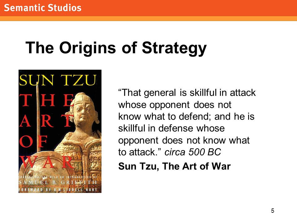 "5 The Origins of Strategy ""That general is skillful in attack whose opponent does not know what to defend; and he is skillful in defense whose opponen"