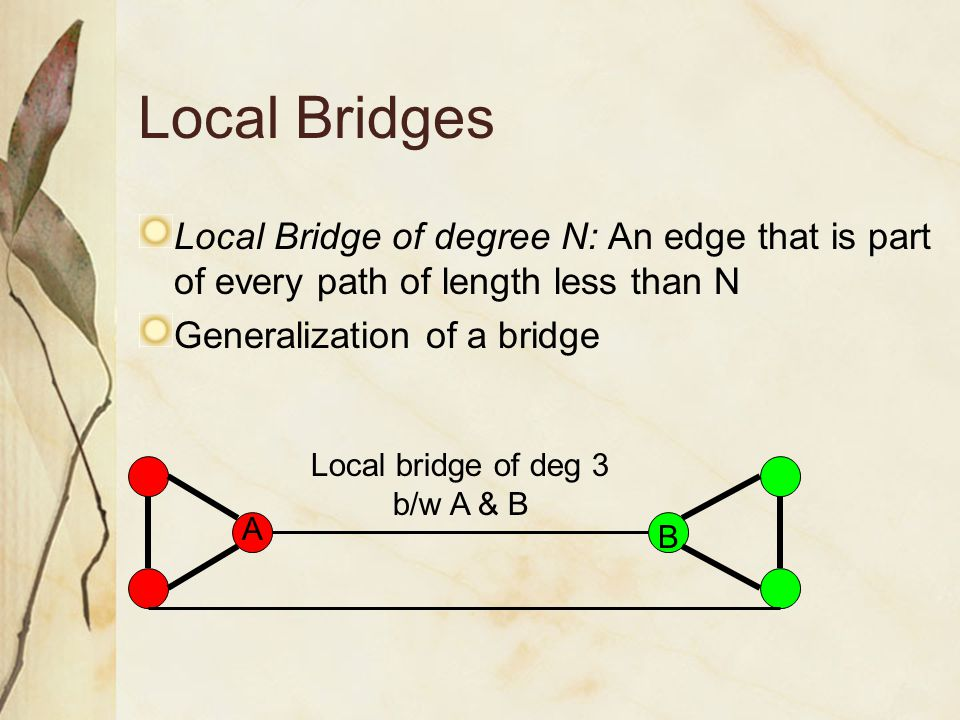Local Bridges Local Bridge of degree N: An edge that is part of every path of length less than N Generalization of a bridge Local bridge of deg 3 b/w