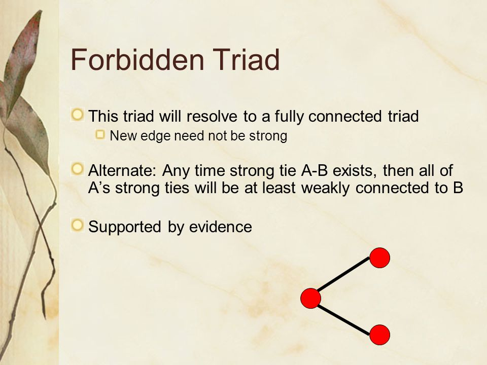 Forbidden Triad This triad will resolve to a fully connected triad New edge need not be strong Alternate: Any time strong tie A-B exists, then all of