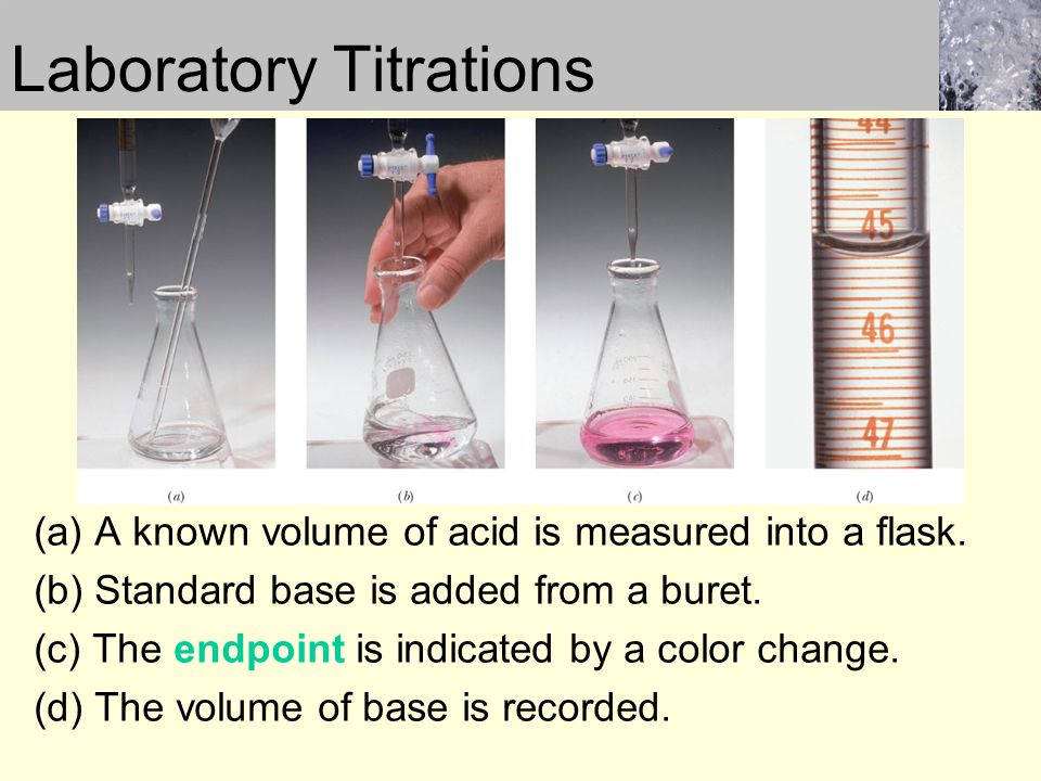 Laboratory Titrations (a) A known volume of acid is measured into a flask. (b) Standard base is added from a buret. (c) The endpoint is indicated by a