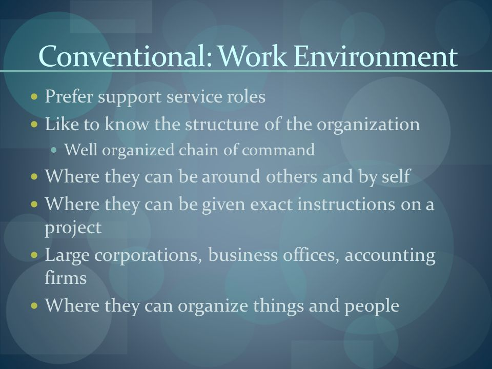 Conventional: Work Environment Prefer support service roles Like to know the structure of the organization Well organized chain of command Where they can be around others and by self Where they can be given exact instructions on a project Large corporations, business offices, accounting firms Where they can organize things and people