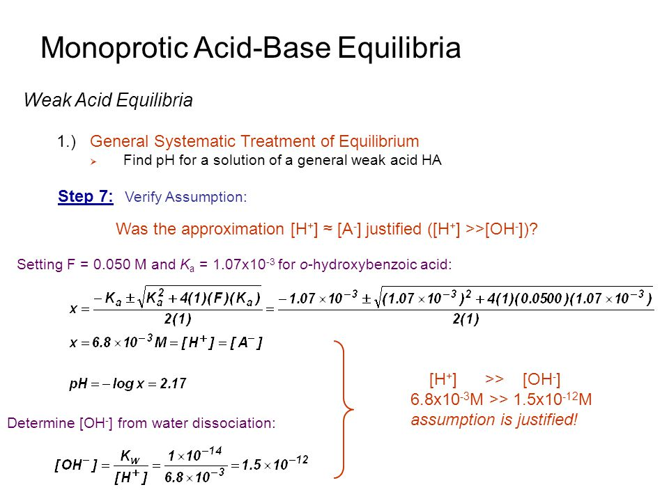 Monoprotic Acid-Base Equilibria Weak Acid Equilibria 1.)General Systematic Treatment of Equilibrium  Find pH for a solution of a general weak acid HA