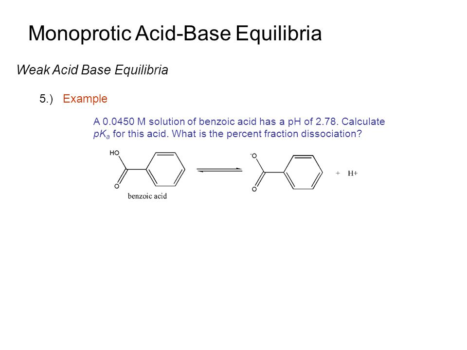 Monoprotic Acid-Base Equilibria Weak Acid Base Equilibria 5.)Example A 0.0450 M solution of benzoic acid has a pH of 2.78. Calculate pK a for this aci