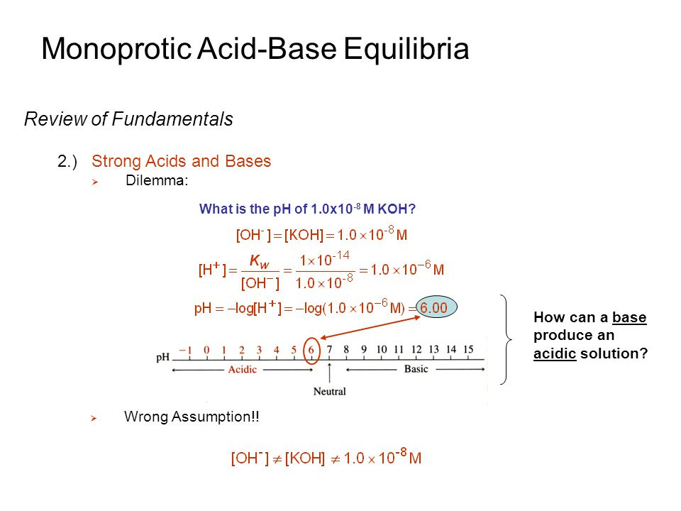 Monoprotic Acid-Base Equilibria Weak Acid Equilibria 1.)General Systematic Treatment of Equilibrium  Find pH for a solution of a general weak acid HA Step 5: Count equations and unknowns: Four Equations: Four Unknowns: (1) (4) (2) (3) Step 6: Solve (Not easy to solve  cubic equation results!): - Again, need to make assumptions to simplify equations - The goal is to determine [H + ], so we can measure pH