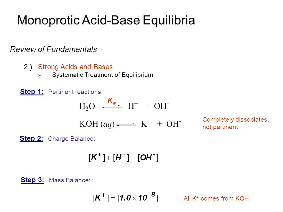 Monoprotic Acid-Base Equilibria Buffers 2.)Mixing a Weak Acid and Its Conjugated Base  Very little reaction occurs  Very little change in concentrations  Example: Consider a 0.10 M of acid with pK a of 4.00 0.10-x x x