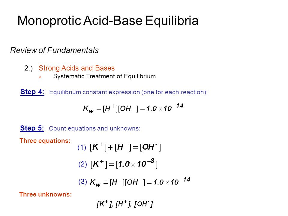 Monoprotic Acid-Base Equilibria Buffers 2.)Mixing a Weak Acid and Its Conjugated Base  Example: Consider adding 0.10 M of conjugate base with pK b of 10.00 0.10-x x x HA dissociates very little and A - reacts very little with water