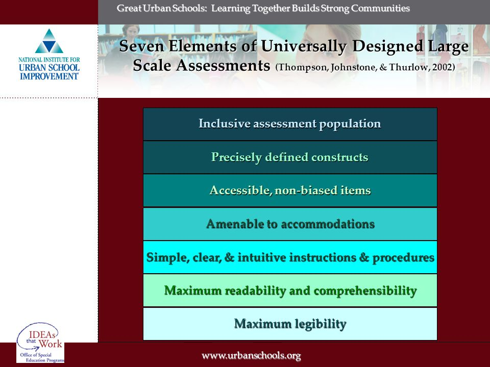 Great Urban Schools: Learning Together Builds Strong Communities Seven Elements of Universally Designed Large Scale Assessments (Thompson, Johnstone, & Thurlow, 2002) Maximum readability and comprehensibility Accessible, non-biased items Precisely defined constructs Amenable to accommodations Simple, clear, & intuitive instructions & procedures Maximum legibility Inclusive assessment population