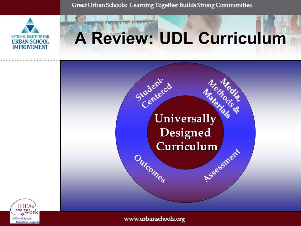 www.urbanschools.org Great Urban Schools: Learning Together Builds Strong Communities Framing UDL into National Legislation NIMAS AYP IDEA IDEA (2004) NCLB (2001) ADA(1990) Applying UDL to the classroom