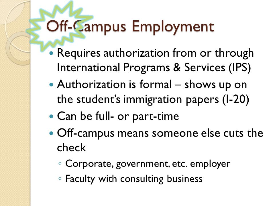 17-Month STEM Extension ◦ Filed like original OPT ◦ Additional info required on I-765  Degree CIP Code  Employer's name on I-765  Copy of transcript / diploma showing degree ◦ Employers seem to be handling these  I like to check I-765  I must provide an I-20  Request form on IPS website ◦ You may keep working before approval IF the application is filed by deadline