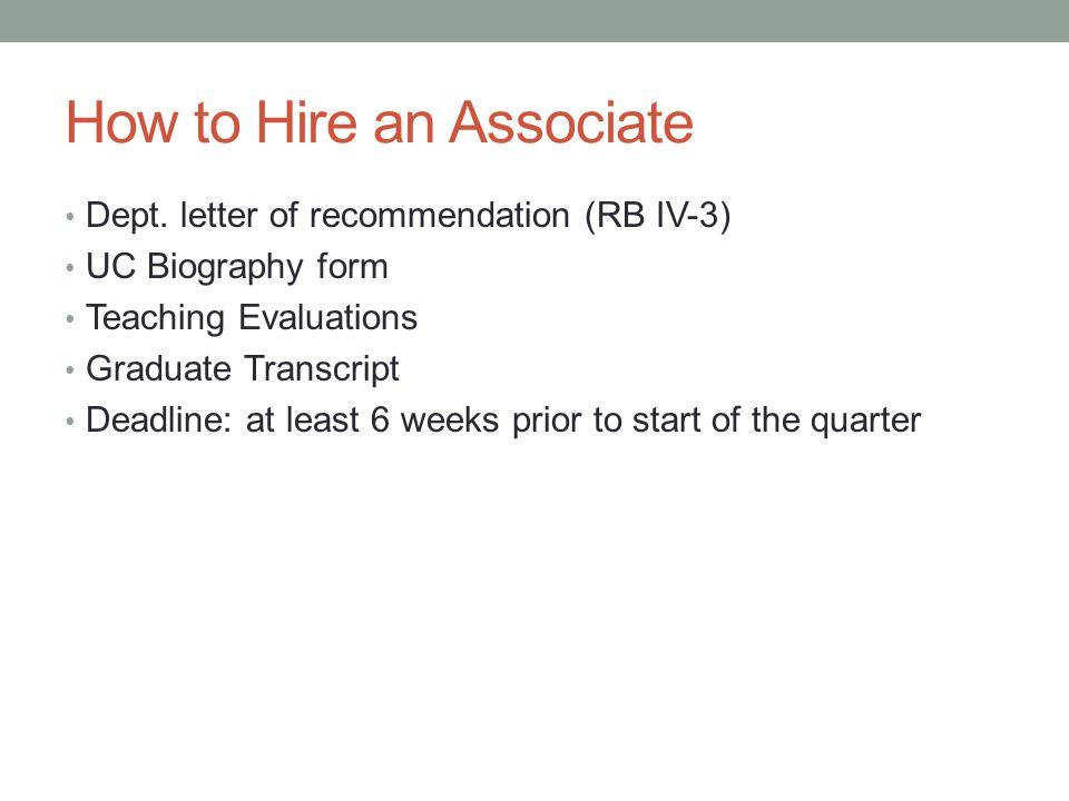 How to Hire an Associate Dept.