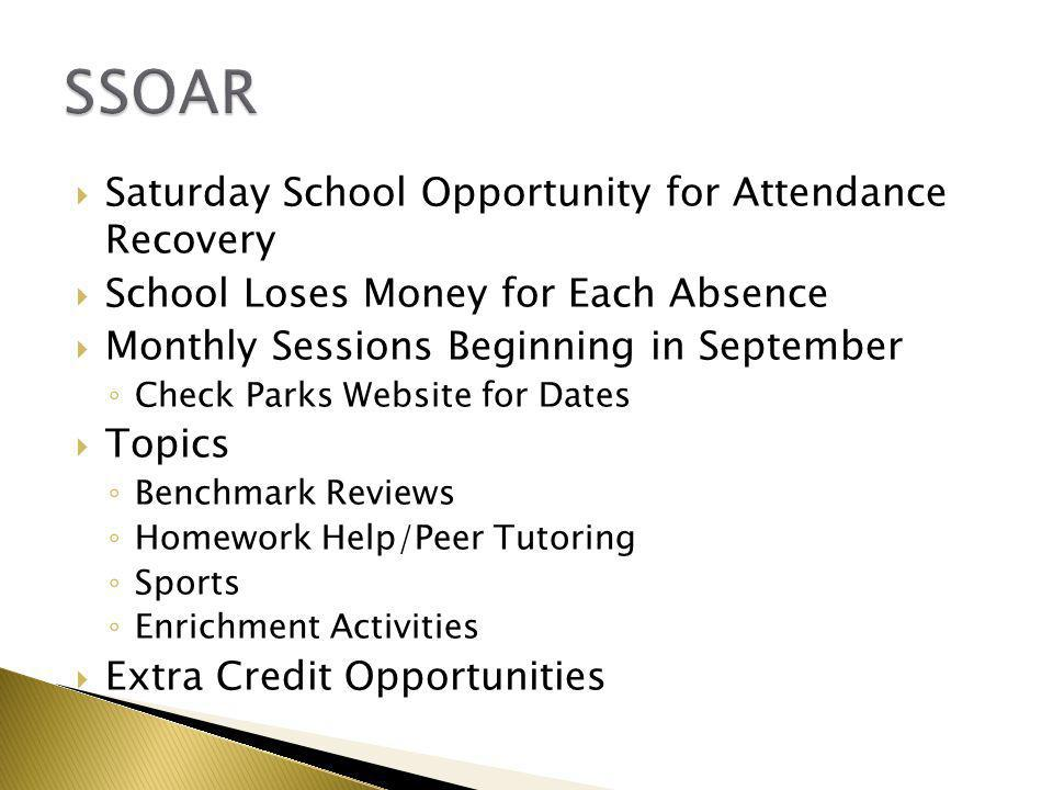  Saturday School Opportunity for Attendance Recovery  School Loses Money for Each Absence  Monthly Sessions Beginning in September ◦ Check Parks We