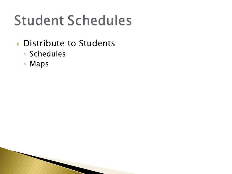  Distribute to Students ◦ Schedules ◦ Maps