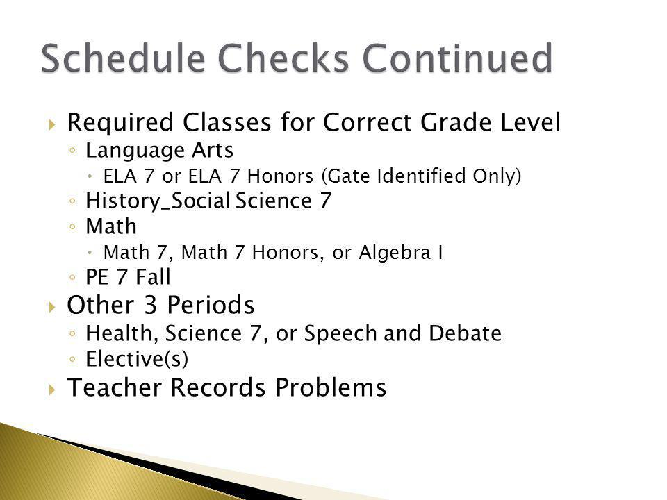  Required Classes for Correct Grade Level ◦ Language Arts  ELA 7 or ELA 7 Honors (Gate Identified Only) ◦ History_Social Science 7 ◦ Math  Math 7,