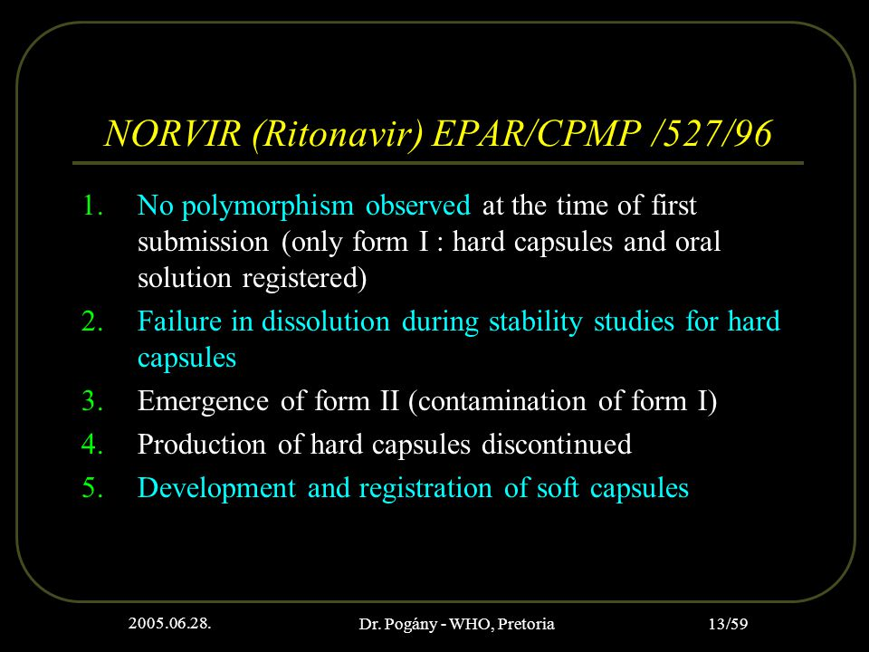 2005.06.28. Dr. Pogány - WHO, Pretoria 13/59 NORVIR (Ritonavir) EPAR/CPMP /527/96 1.No polymorphism observed at the time of first submission (only for