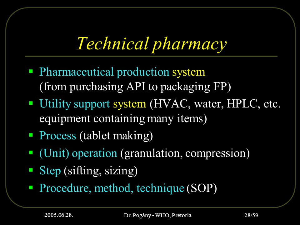 2005.06.28. Dr. Pogány - WHO, Pretoria 28/59 Technical pharmacy  Pharmaceutical production system (from purchasing API to packaging FP)  Utility sup