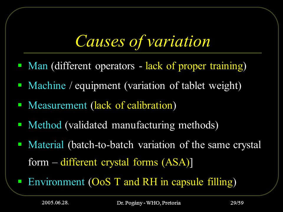 2005.06.28. Dr. Pogány - WHO, Pretoria 29/59 Causes of variation  Man (different operators - lack of proper training)  Machine / equipment (variatio