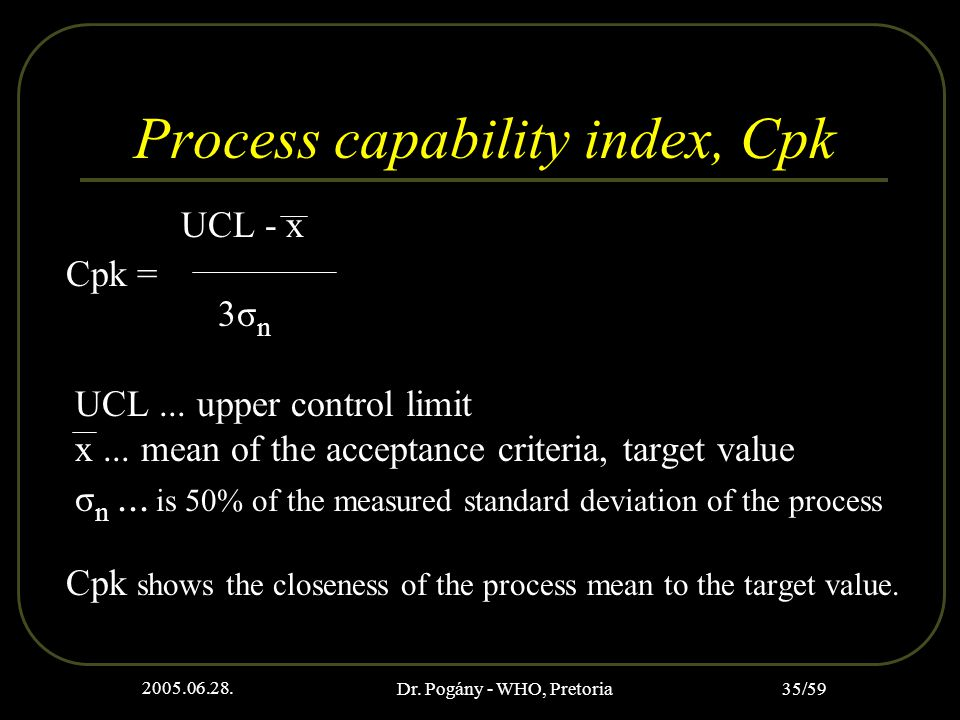 2005.06.28. Dr. Pogány - WHO, Pretoria 35/59 Process capability index, Cpk UCL - x Cpk = 3σ n UCL... upper control limit x... mean of the acceptance c