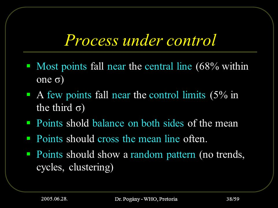 2005.06.28. Dr. Pogány - WHO, Pretoria 38/59 Process under control  Most points fall near the central line (68% within one σ)  A few points fall nea