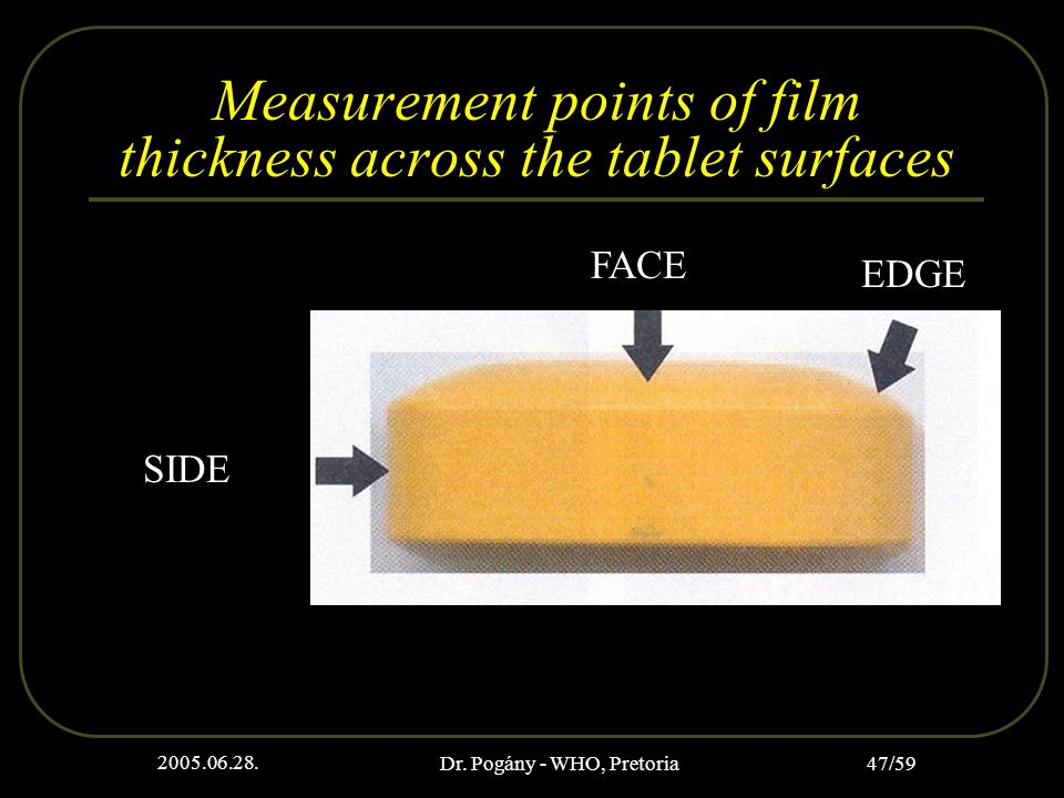 2005.06.28. Dr. Pogány - WHO, Pretoria 47/59 Measurement points of film thickness across the tablet surfaces FACE EDGE SIDE