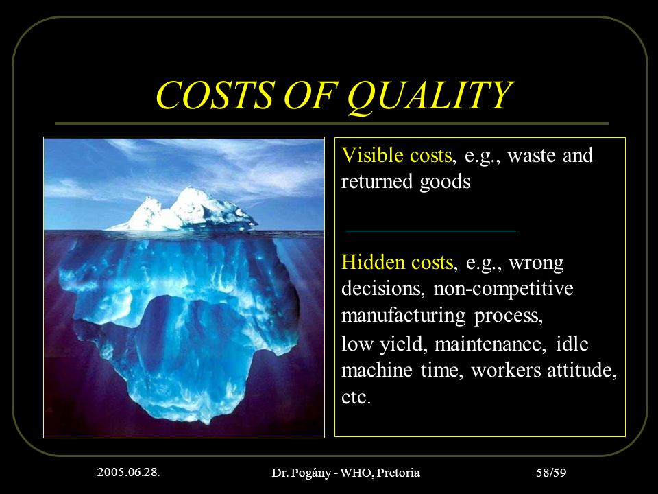 2005.06.28. Dr. Pogány - WHO, Pretoria 58/59 COSTS OF QUALITY Visible costs, e.g., waste and returned goods Hidden costs, e.g., wrong decisions, non-c