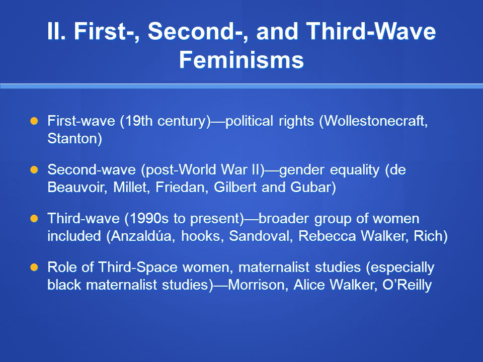 II. First-, Second-, and Third-Wave Feminisms First-wave (19th century)—political rights (Wollestonecraft, Stanton) First-wave (19th century)—politica