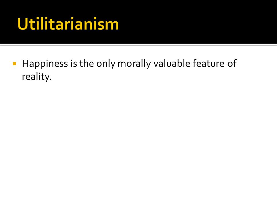  Happiness is the only morally valuable feature of reality.