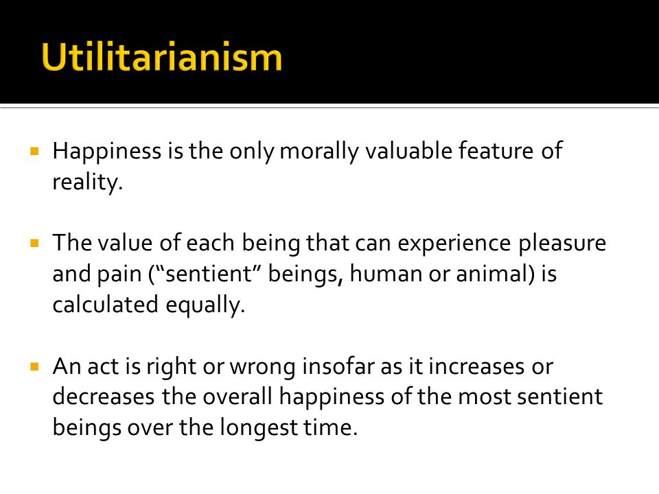 " Happiness is the only morally valuable feature of reality.  The value of each being that can experience pleasure and pain (""sentient"" beings, human"