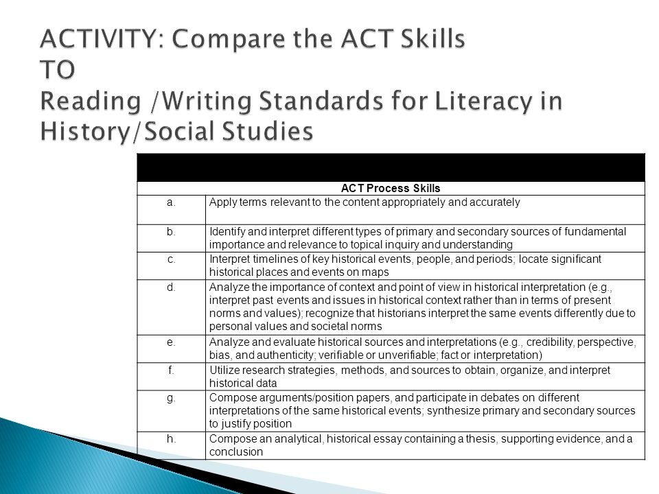 ACT Course Standards—U.S. History A. Exploring the Skills and Strategies Underlying U.S.