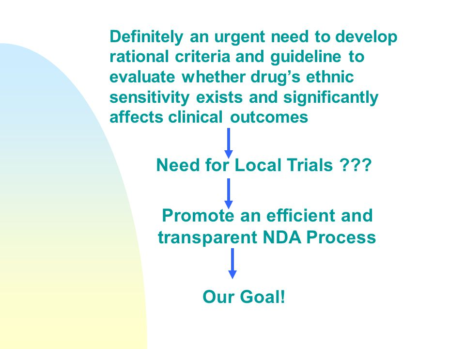Definitely an urgent need to develop rational criteria and guideline to evaluate whether drug's ethnic sensitivity exists and significantly affects clinical outcomes Need for Local Trials .