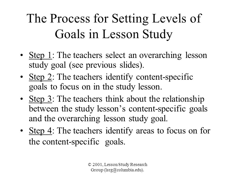 © 2001, Lesson Study Research Group (lsrg@columbia.edu). The Process for Setting Levels of Goals in Lesson Study Step 1: The teachers select an overar