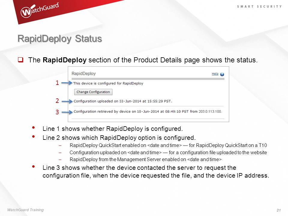 RapidDeploy Status  The RapidDeploy section of the Product Details page shows the status.