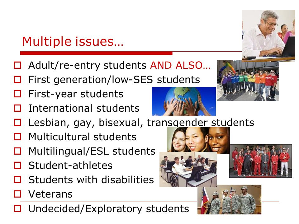Multiple issues…  Adult/re-entry students AND ALSO…  First generation/low-SES students  First-year students  International students  Lesbian, gay