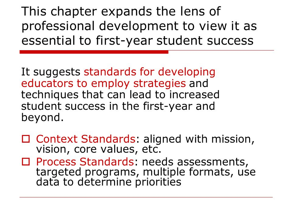 This chapter expands the lens of professional development to view it as essential to first-year student success It suggests standards for developing educators to employ strategies and techniques that can lead to increased student success in the first-year and beyond.
