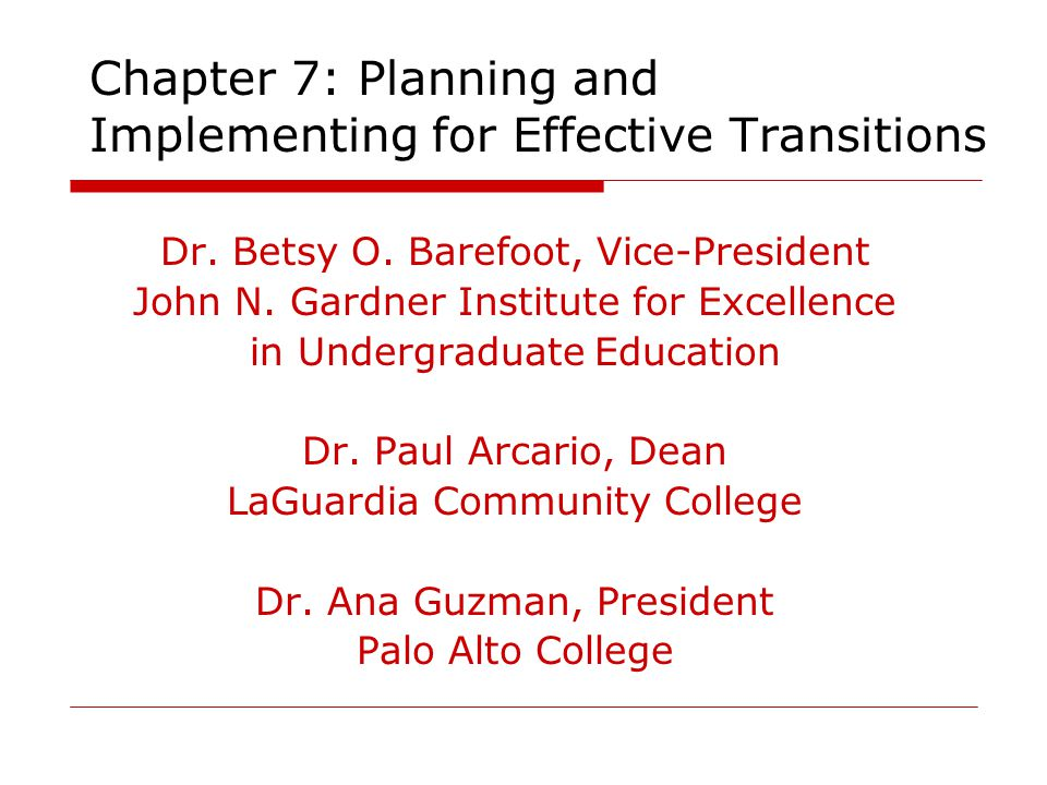 Chapter 7: Planning and Implementing for Effective Transitions Dr.