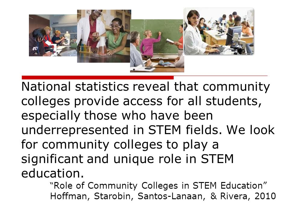 National statistics reveal that community colleges provide access for all students, especially those who have been underrepresented in STEM fields. We