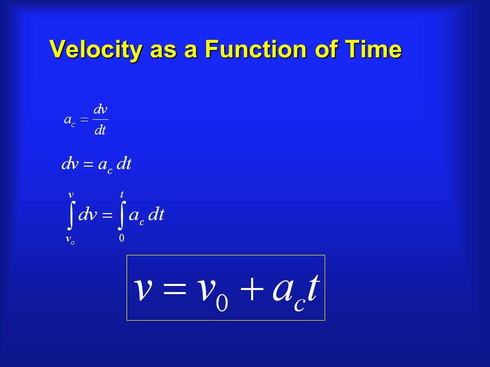 Velocity as a Function of Time