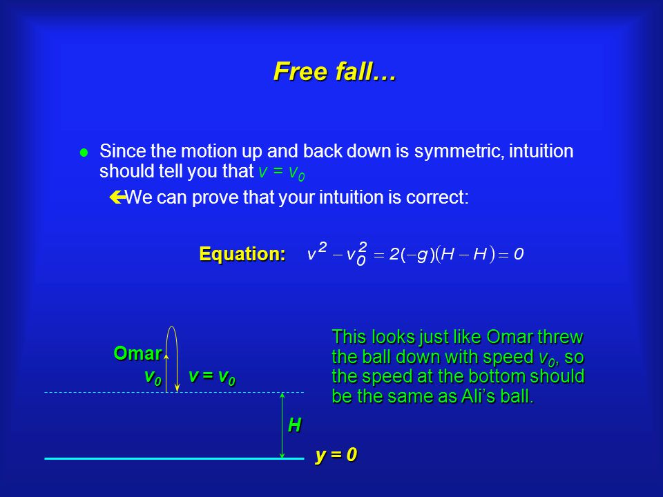 Free fall… Free fall… l Since the motion up and back down is symmetric, intuition should tell you that v = v 0 çWe can prove that your intuition is correct: v0v0v0v0 Omar H v = v 0 Equation: This looks just like Omar threw the ball down with speed v 0, so the speed at the bottom should be the same as Ali's ball.