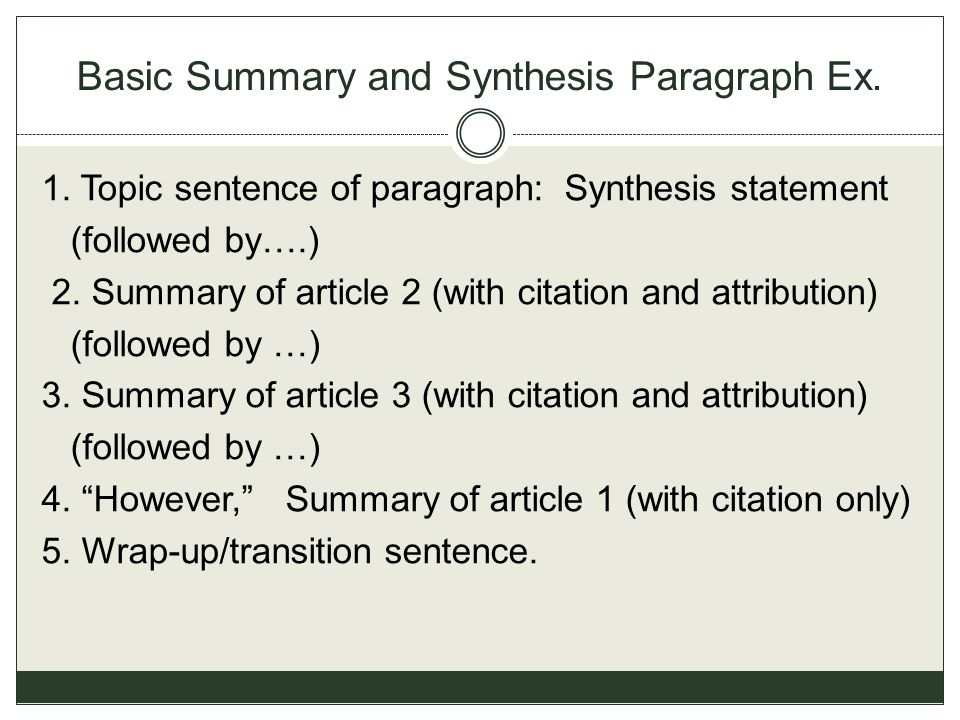 Basic Summary and Synthesis Paragraph Ex. 1. Topic sentence of paragraph: Synthesis statement (followed by….) 2. Summary of article 2 (with citation a
