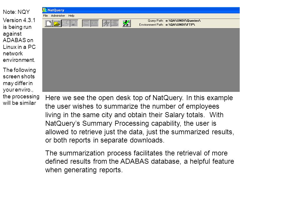The user has returned to the NatQuery desktop where all the Standard Request slots as empty.