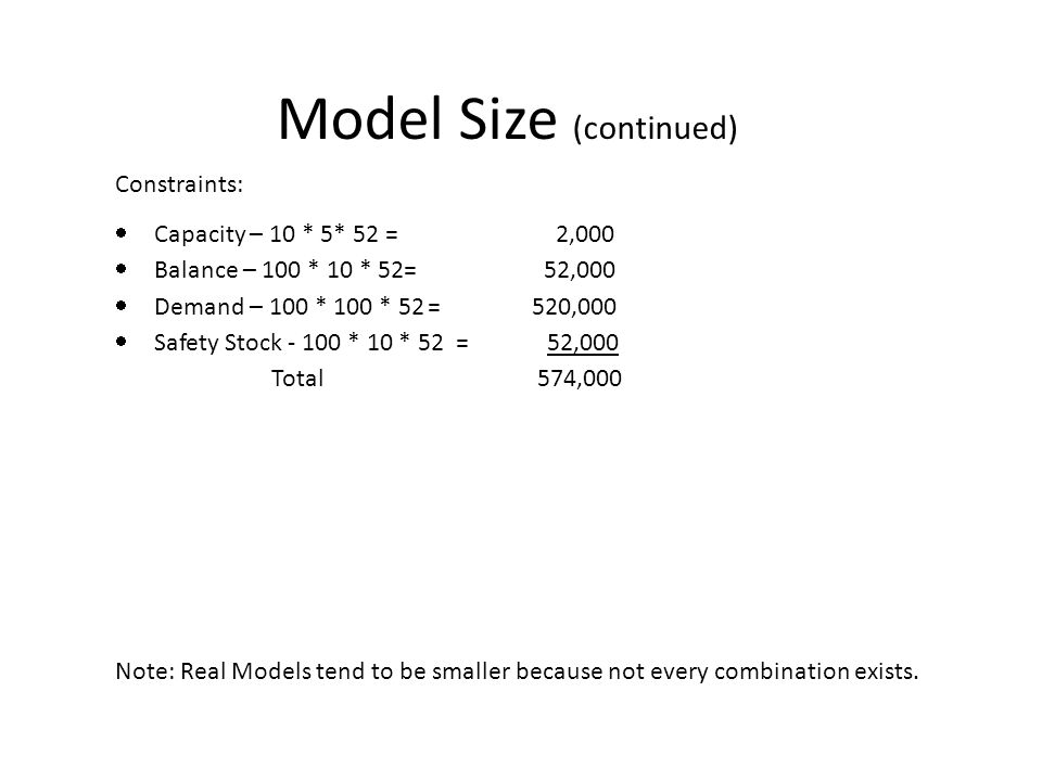 Model Size (continued) Note: Real Models tend to be smaller because not every combination exists.
