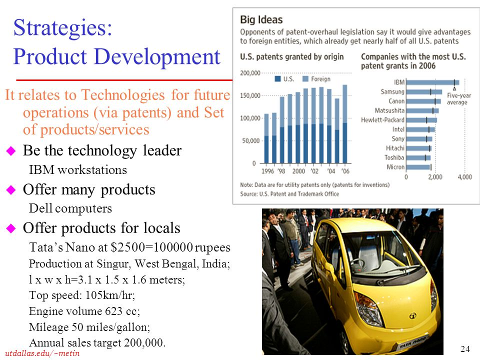 24 utdallas.edu/~metin Strategies: Product Development It relates to Technologies for future operations (via patents) and Set of products/services u B