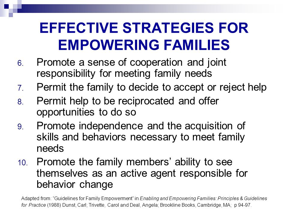 EFFECTIVE STRATEGIES FOR EMPOWERING FAMILIES 6.