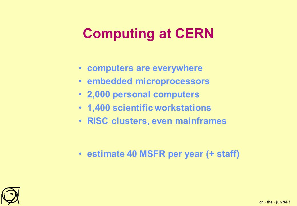 cn - fhe - jun 94-3 CERN Computing at CERN computers are everywhere embedded microprocessors 2,000 personal computers 1,400 scientific workstations RISC clusters, even mainframes estimate 40 MSFR per year (+ staff)